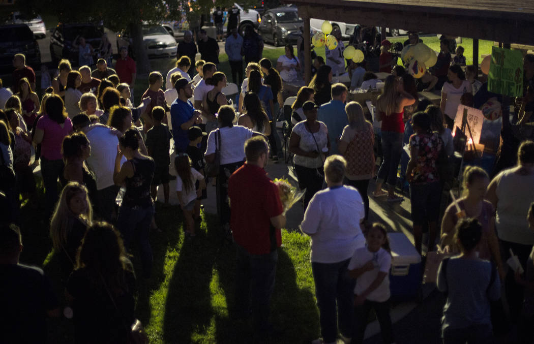 Friends and family gather for a vigil for 8-year-old Levi Echenique at Paradise Park in Las Vegas, Sunday, Sept. 9, 2018. Echenique was killed in a car crash on Aug. 31. His parents Breijet and Jo ...