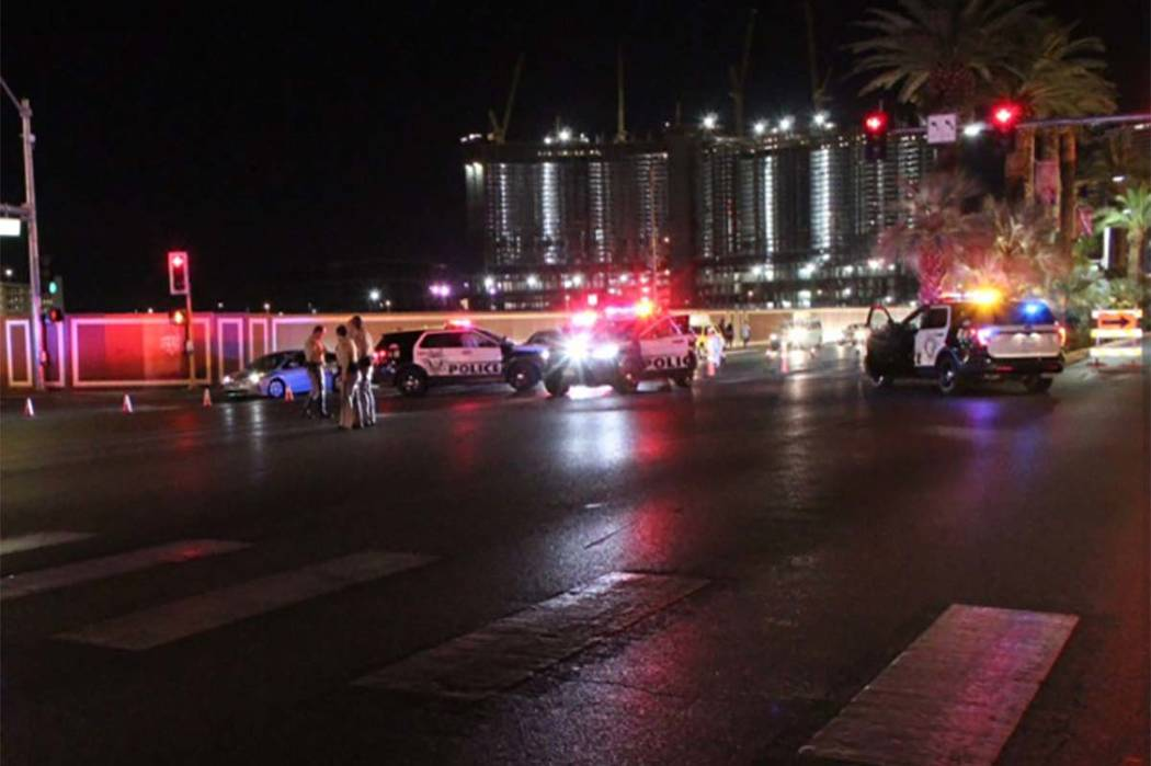 Las Vegas police are investigating an injury crash early Friday, Sept. 7, 2018, on the Strip. (Max MIchor/Las Vegas Review-Journal)