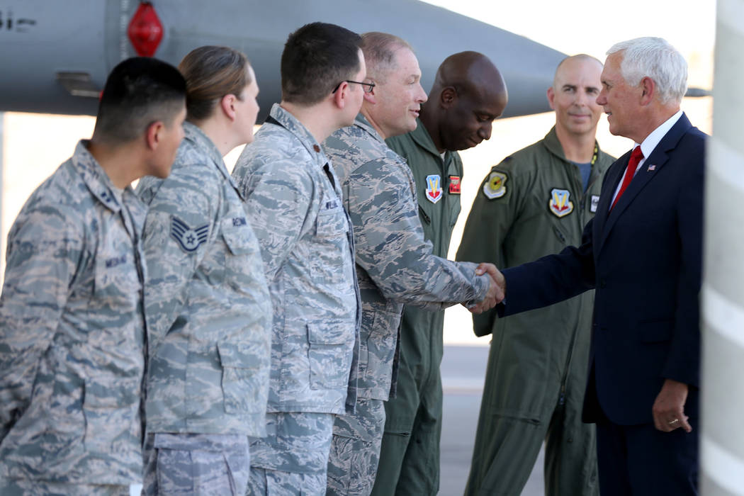 Vice President Mike Pence meets with airmen after landing in Air Force Two at Nellis Air Force Base in Las Vegas Friday, Sept. 7, 2018. K.M. Cannon Las Vegas Review-Journal @KMCannonPhoto