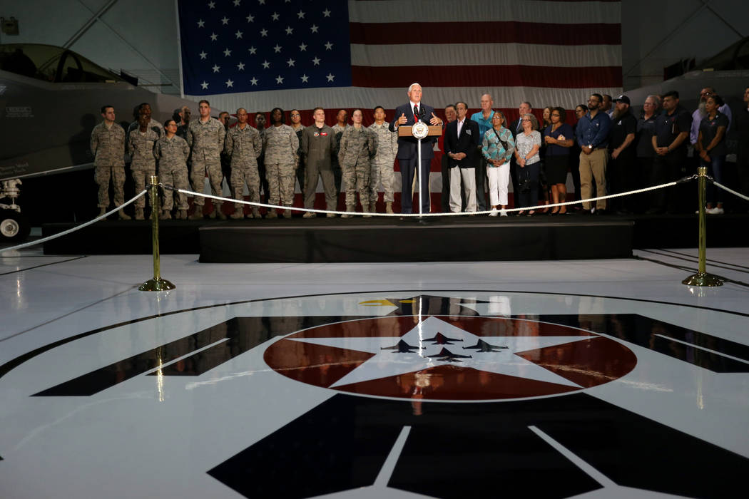 Vice President Mike Pence speaks with airmen and veterans in the Thunderbirds hanger at Nellis Air Force Base in Las Vegas Friday, Sept. 7, 2018. K.M. Cannon Las Vegas Review-Journal @KMCannonPhoto