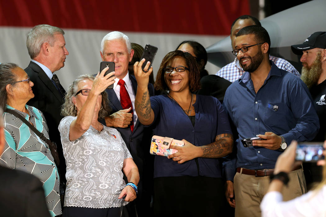 Vice President Mike Pence meets with veterans in the Thunderbirds hanger at Nellis Air Force Base in Las Vegas Friday, Sept. 7, 2018. K.M. Cannon Las Vegas Review-Journal @KMCannonPhoto