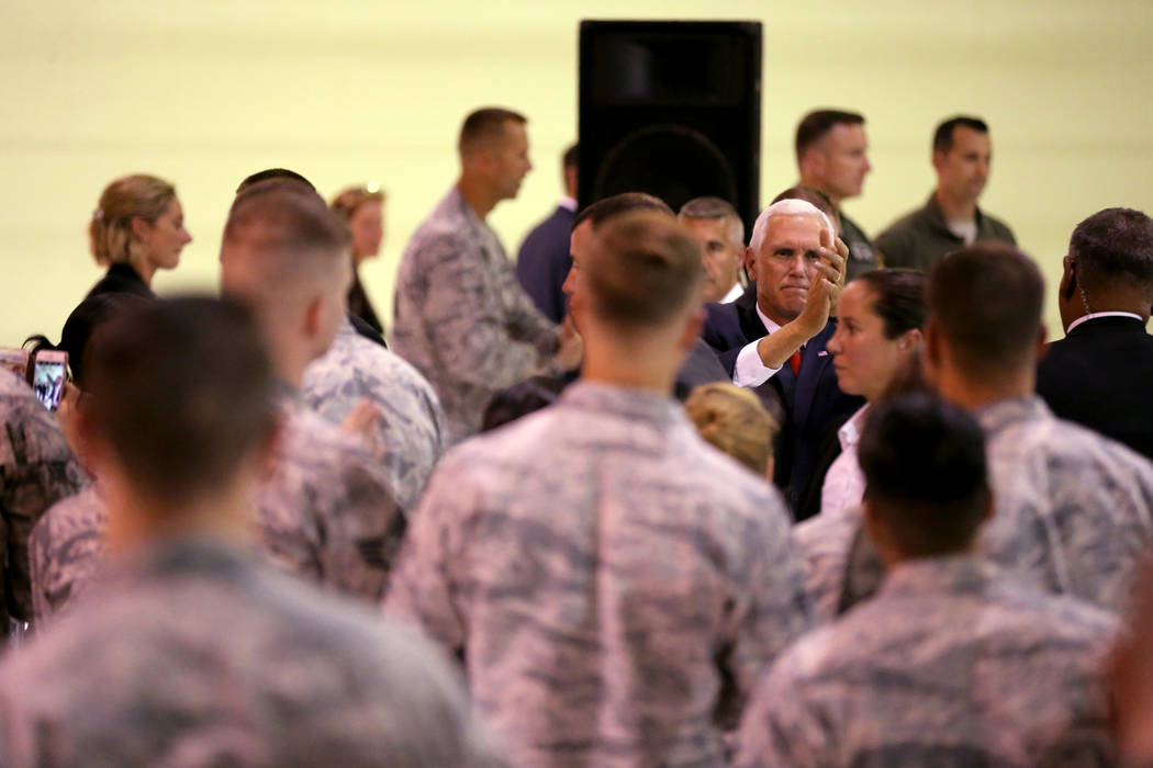 Vice President Mike Pence thanks airmen in the Thunderbirds hanger at Nellis Air Force Base in Las Vegas Friday, Sept. 7, 2018. K.M. Cannon Las Vegas Review-Journal @KMCannonPhoto