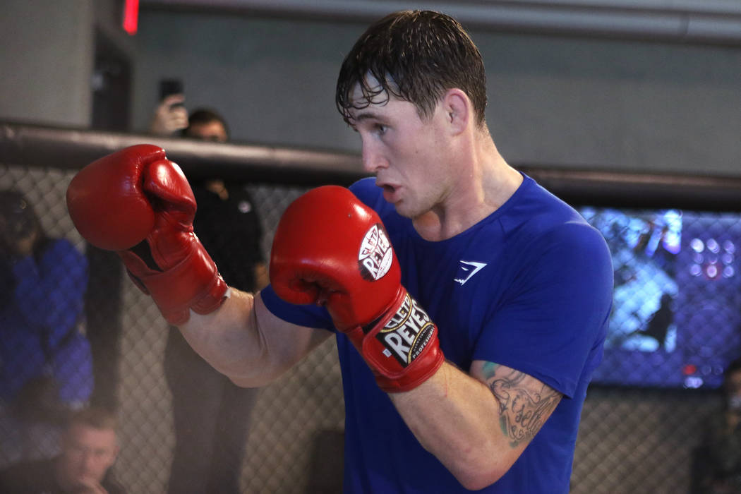 UFC welterweight title contender Darren Till spars during his open workout at the UFC Performance Institute in Las Vegas, Tuesday, Aug. 28, 2018. Till will fight Tyron Woodley for t ...