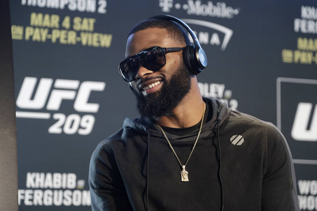 FILE - In this March 2, 2017, file photo, Tyron Woodley speaks with the media during a news conference for UFC 209, in Las Vegas. Woodley is back to defend his welterweight championship for the fi ...