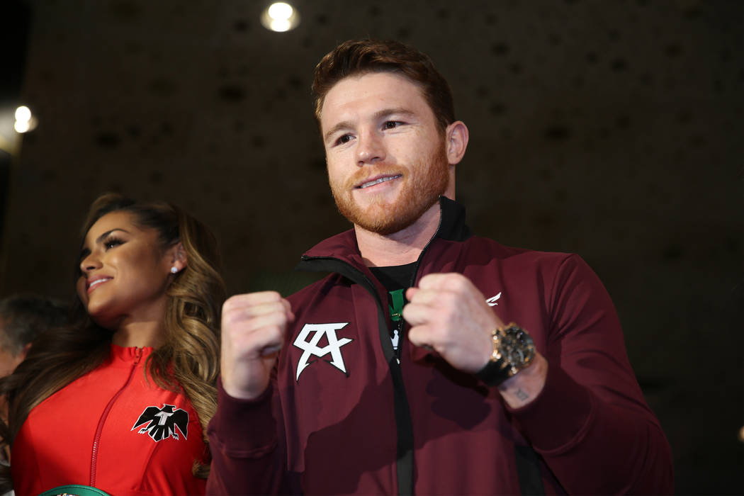 "Saul ""Canelo"" Alvarez on stage during a ""Grand Arrivals"" event at the MGM Grand hotel-casino in Las Vegas, Tuesday, Sept. 11, 2018. Erik Verduzco Las Vegas Review-Journal @Erik ..."