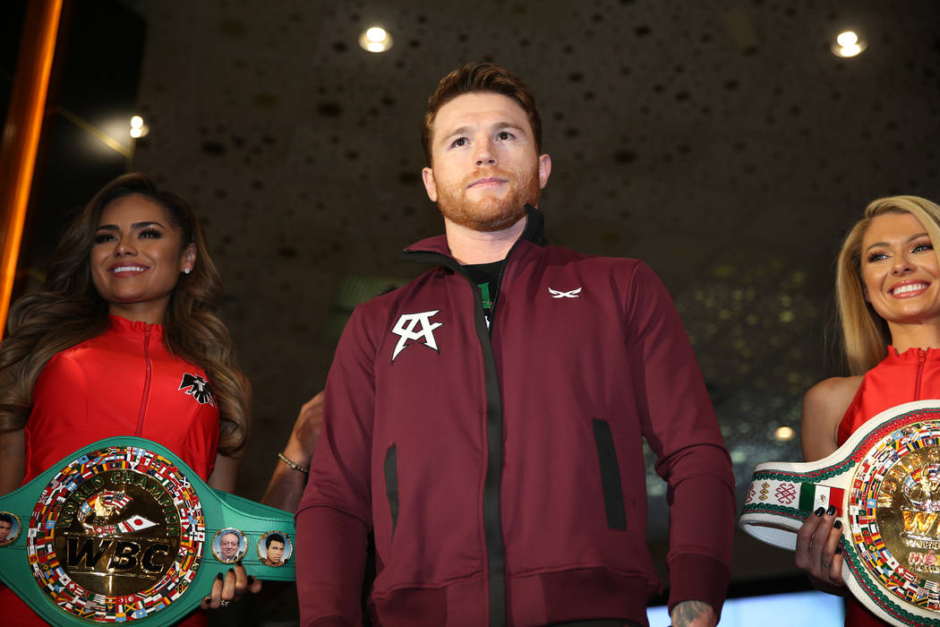 "Saul ""Canelo"" Alvarez, center, on stage during a ""Grand Arrivals"" event at the MGM Grand hotel-casino in Las Vegas, Tuesday, Sept. 11, 2018. Erik Verduzco Las Vegas Review-Jour ..."
