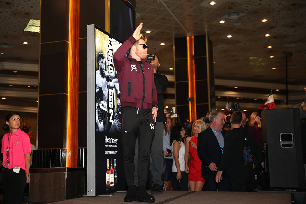 "Saul ""Canelo"" Alvarez takes the stage during a ""Grand Arrivals"" event at the MGM Grand hotel-casino in Las Vegas, Tuesday, Sept. 11, 2018. Erik Verduzco Las Vegas Review-Journa ..."