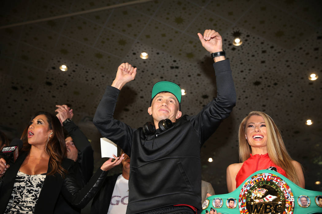 "Gennady Golovkin, center, on stage during the ""Grand Arrivals"" at the MGM Grand hotel-casino in Las Vegas, Tuesday, Sept. 11, 2018. Erik Verduzco Las Vegas Review-Journal @Erik_Verduzco"
