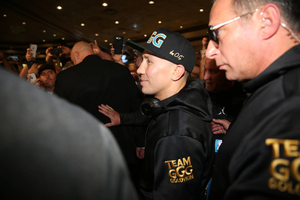 "Gennady Golovkin, center, makes his way to the stage during the ""Grand Arrivals"" at the MGM Grand hotel-casino in Las Vegas, Tuesday, Sept. 11, 2018. Erik Verduzco Las Vegas Review-Journ ..."