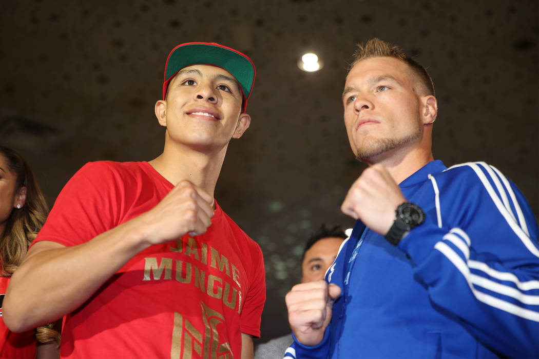 "Jaime Munguia, left, and Brandon Cook pose during a boxing ""Grand Arrivals"" event at the MGM Grand hotel-casino in Las Vegas, Tuesday, Sept. 11, 2018. Erik Verduzco Las Vegas Review-Jour ..."
