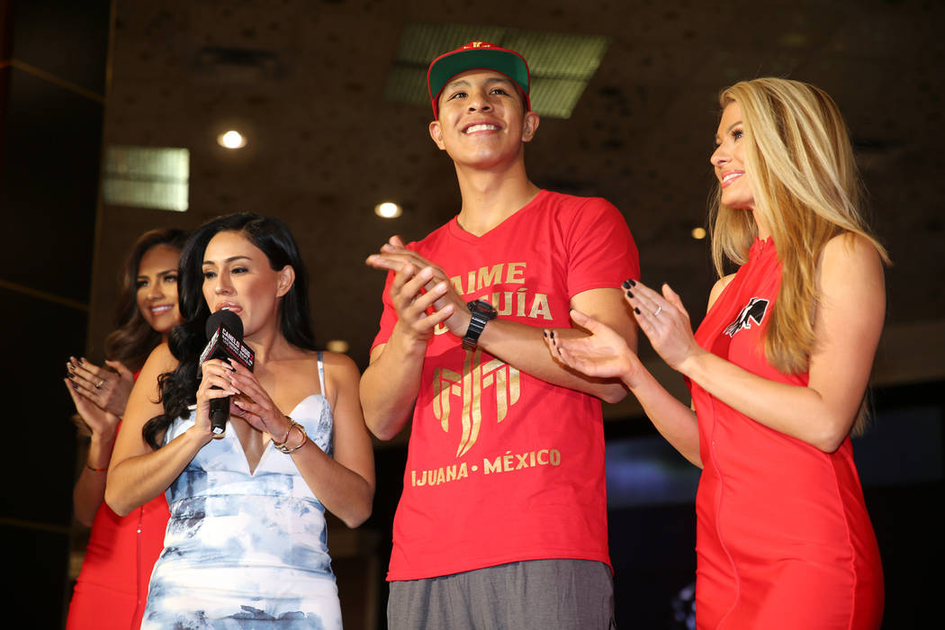 "Jaime Munguia, center, on stage during the ""Grand Arrivals"" at the MGM Grand hotel-casino in Las Vegas, Tuesday, Sept. 11, 2018. Erik Verduzco Las Vegas Review-Journal @Erik_Verduzco"