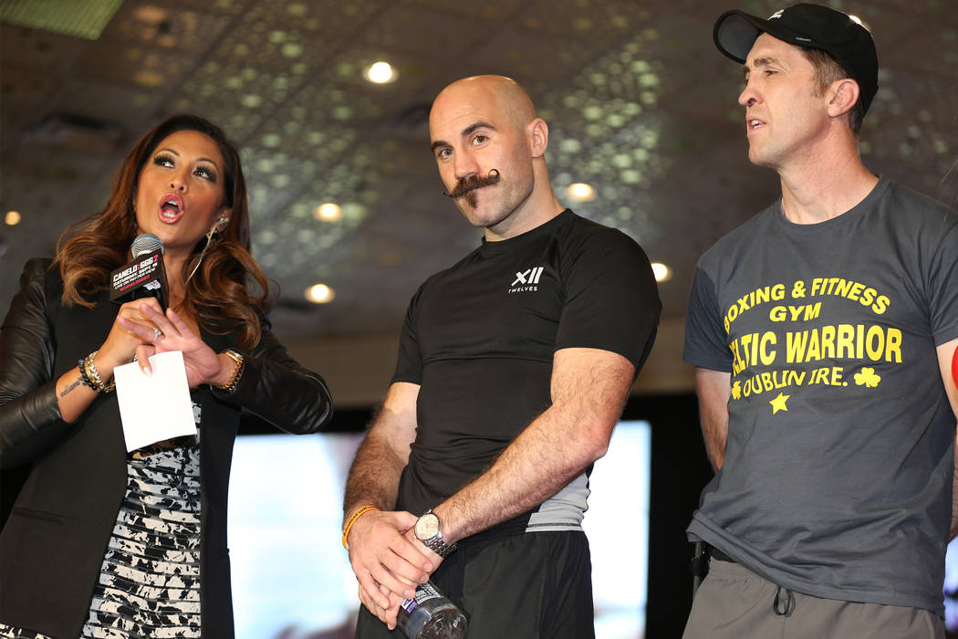 "Gary O'Sullivan, center, on stage during the ""Grand Arrivals"" at the MGM Grand hotel-casino in Las Vegas, Tuesday, Sept. 11, 2018. Erik Verduzco Las Vegas Review-Journal @Erik_Verduzco"