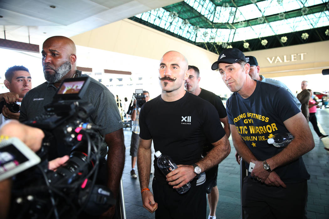 "Gary O'Sullivan makes his way to the stage during the ""Grand Arrivals"" at the MGM Grand hotel-casino in Las Vegas, Tuesday, Sept. 11, 2018. Erik Verduzco Las Vegas Review-Journal @Erik_V ..."