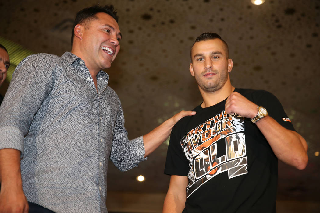 "Boxing promoter Oscar De La Hoya, left, and David Lemieux on stage during the ""Grand Arrivals"" at the MGM Grand hotel-casino in Las Vegas, Tuesday, Sept. 11, 2018. Erik Verduzco Las Vega ..."