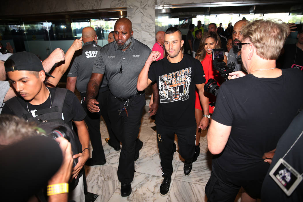 "David Lemieux makes his way to the stage during the ""Grand Arrivals"" at the MGM Grand hotel-casino in Las Vegas, Tuesday, Sept. 11, 2018. Erik Verduzco Las Vegas Review-Journal @Erik_Ver ..."