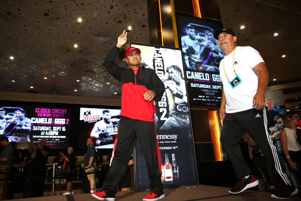 "Roman Gonzalez takes the stage during the ""Grand Arrivals"" at the MGM Grand hotel-casino in Las Vegas, Tuesday, Sept. 11, 2018. Erik Verduzco Las Vegas Review-Journal @Erik_Verduzco"