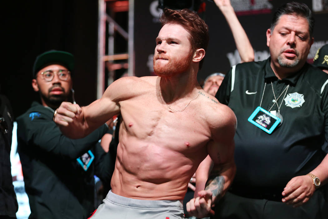 "Saul ""Canelo"" Alvarez during his weigh-in at T-Mobile Arena in Las Vegas, Friday, Sept. 14, 2018. Alvarez will fight Gennady Golovkin Saturday in a middleweight title bout. Erik Verduzco ..."