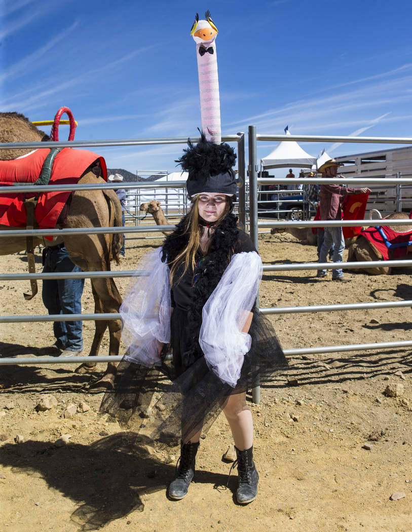 Sophia Dickey, 12, of Mancos, Colo., poses in her ostrich costume during the first day of the 59th annual International Camel & Ostrich Races in Virginia City on Friday, Sept. 7, 2018. Chase Steve ...