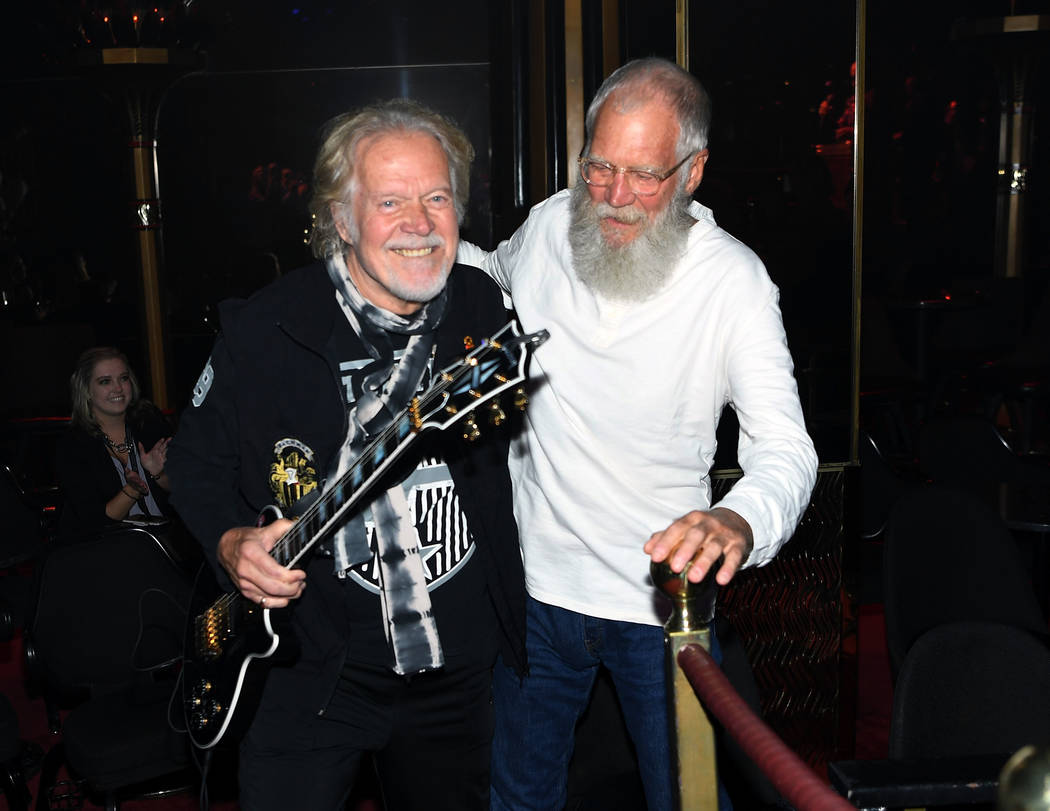 Randy Bachman surprises David Letterman with a performance at Cleopatra's Barge at Caesars Palace on September 6, 2018 in Las Vegas. (Photo by Denise Truscello/WireImage)