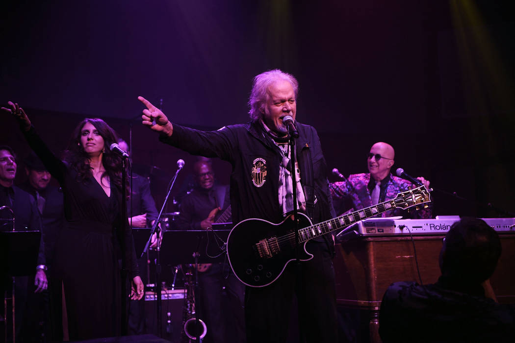 Randy Bachman and Paul Shaffer perform at Cleopatra's Barge at Caesars Palace on September 6, 2018 in Las Vegas. (Photo by Denise Truscello/WireImage)
