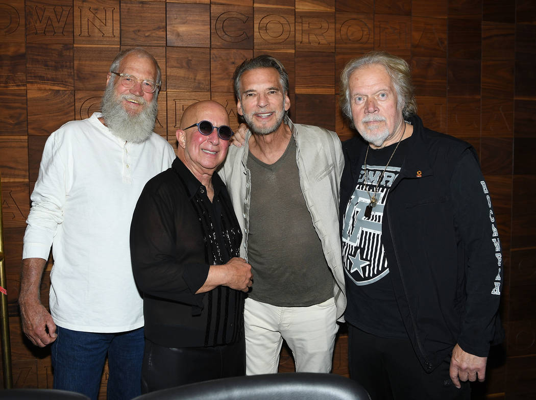 David Letterman, Paul Shaffer, Kenny Loggins and Randy Bachman pose for a photo at Caesars Palace on September 6, 2018 in Las Vegas. (Photo by Denise Truscello/WireImage)