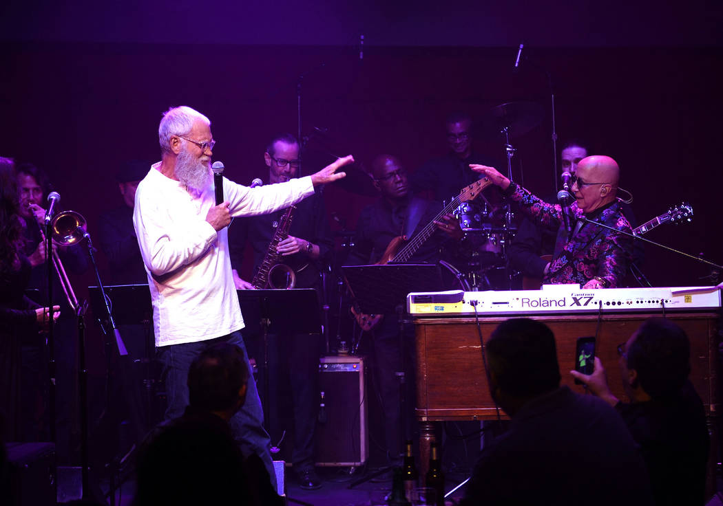 David Letterman and Paul Shaffer perform at Cleopatra's Barge at Caesars Palace on September 6, 2018 in Las Vegas. (Photo by Denise Truscello/WireImage)