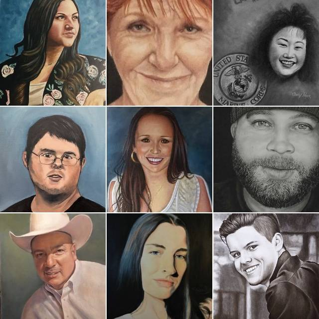 Each portrait depicts a person killed almost one year ago in the Route 91 Harvest festival shooting. (Portraits Project Facebook)