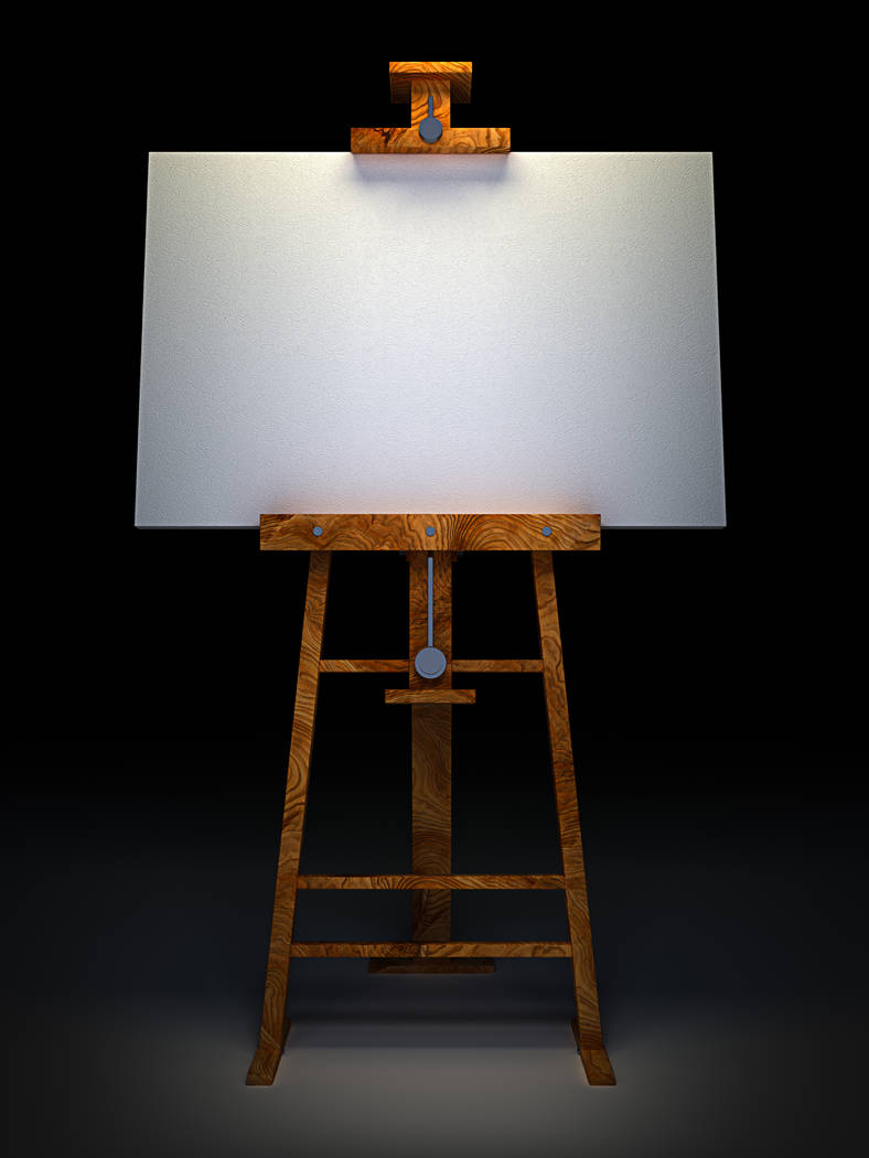 Wooden easel with blank canvas isolated on black 3D render
