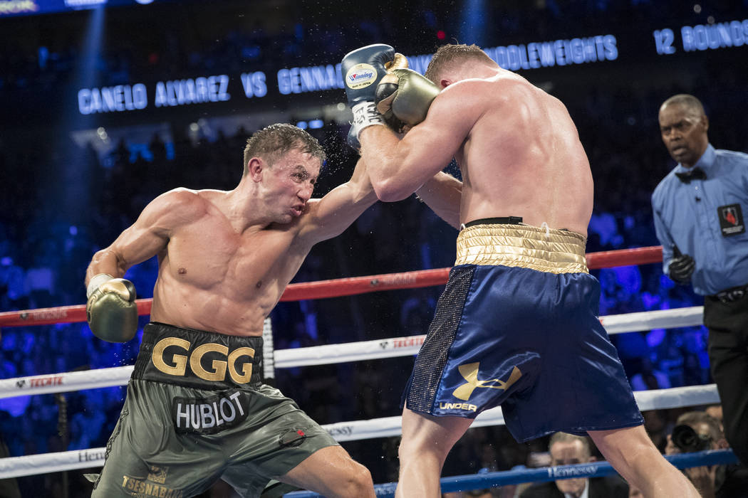 Gennady GGG Golovkin battles Saul Canelo Alvarez in the WBC, WBA, IBF, RING middleweight title bout at T-Mobile Arena in Las Vegas, Saturday, Sept. 16, 2017. The fight ended in a draw. Erik Verduz ...