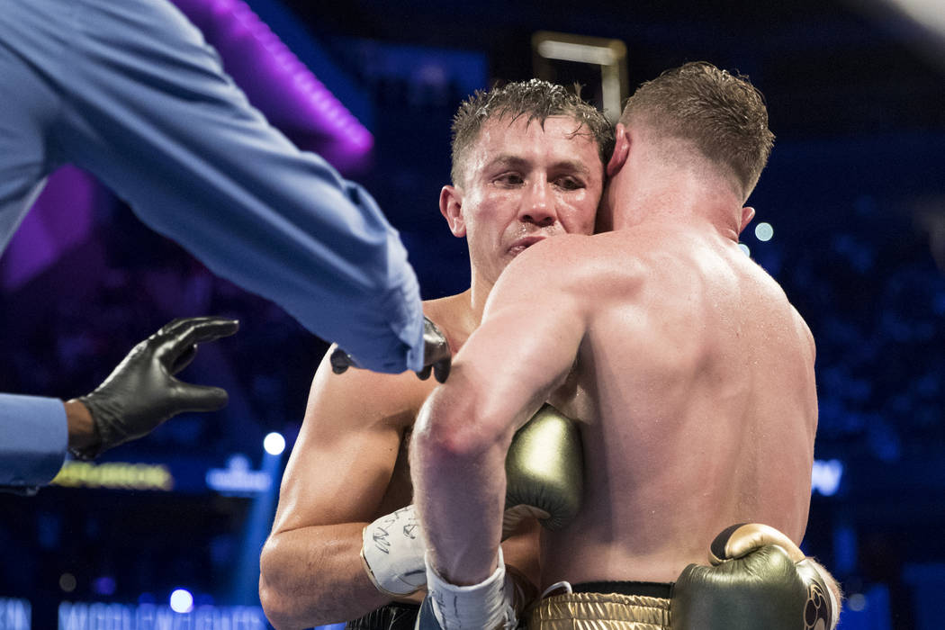Gennady GGG Golovkin, left, battles Saul Canelo Alvarez in the WBC, WBA, IBF, RING middleweight title bout at T-Mobile Arena in Las Vegas, Saturday, Sept. 16, 2017. The fight ended in a draw. Erik ...