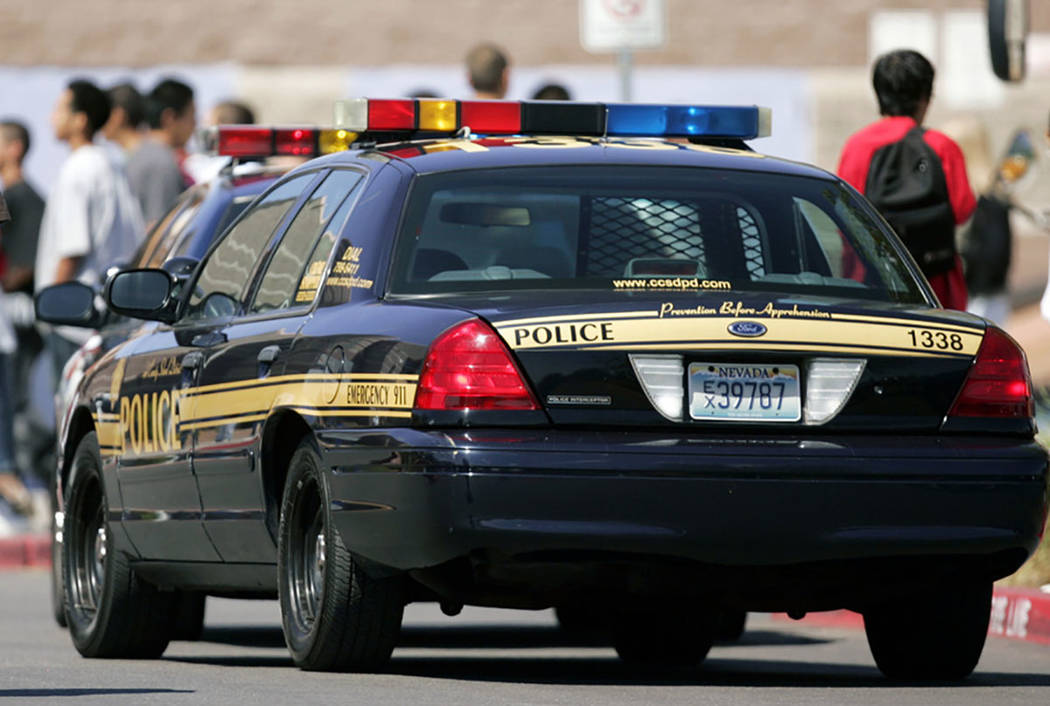 Clark County School District police outside Desert Pine High School. (Las Vegas Review-Journal)