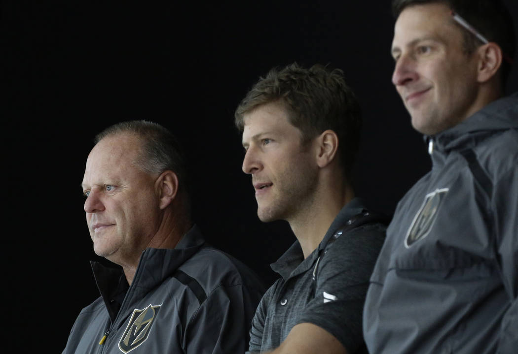 Golden Knights head coach Gerard Gallant, left, watches players during Knights rookie camp practice at City National Arena in Las Vegas on Friday, Sept. 7, 2018, in Las Vegas. (Bizuayehu Tesfaye/L ...