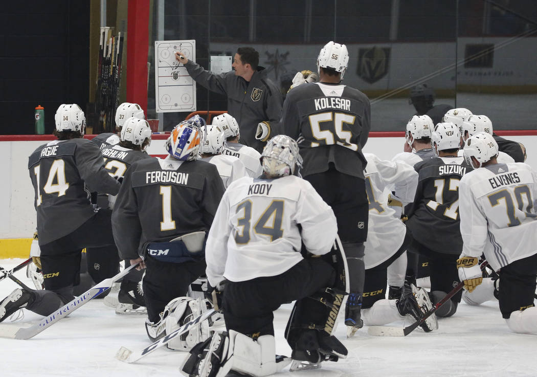 Golden Knights coach Chris Dennis lays out a practice plan during Knights rookie camp practice at City National Arena in Las Vegas on Friday, Sept. 7, 2018, in Las Vegas. (Bizuayehu Tesfaye/Las Ve ...