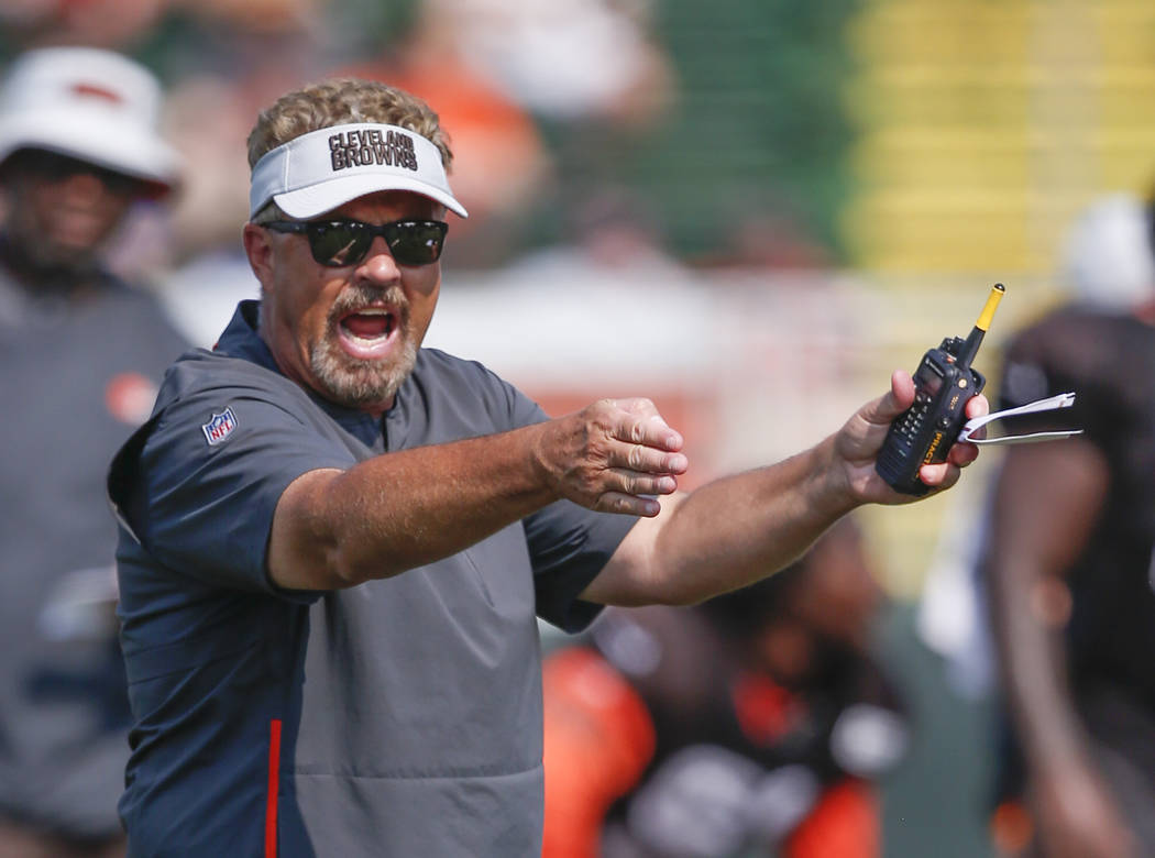 Cleveland Browns defensive coordinator Gregg Williams shouts directions during NFL football training camp Tuesday, Aug. 14, 2018, in Berea, Ohio. (AP Photo/Ron Schwane)