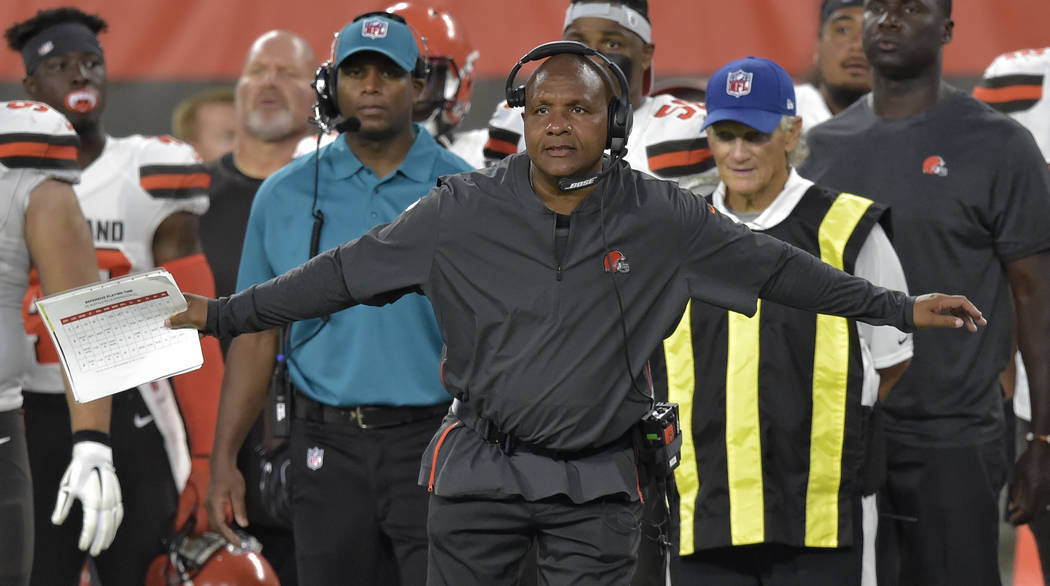 Cleveland Browns coach Hue Jackson gestures during the first half of the team's NFL football preseason game against the Buffalo Bills, Friday, Aug. 17, 2018, in Cleveland. (AP Photo/David Richard)