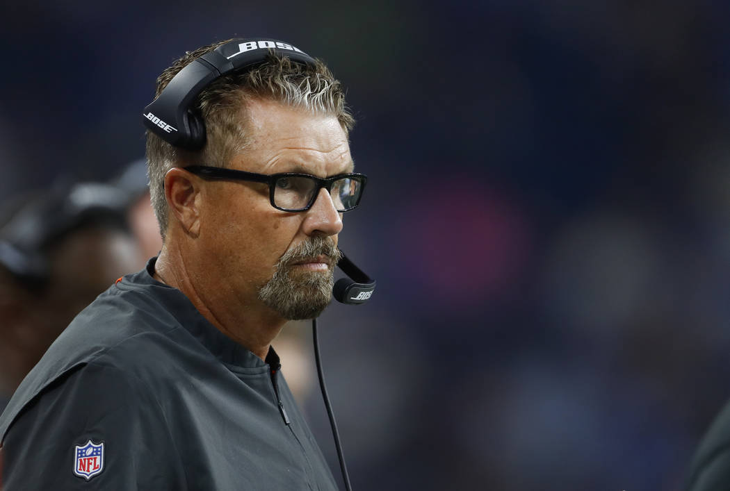 Cleveland Browns defensive coordinator Gregg Williams watches during the first half of an NFL football game against the Detroit Lions in Detroit, Thursday, Aug. 30, 2018. (AP Photo/Paul Sancya)
