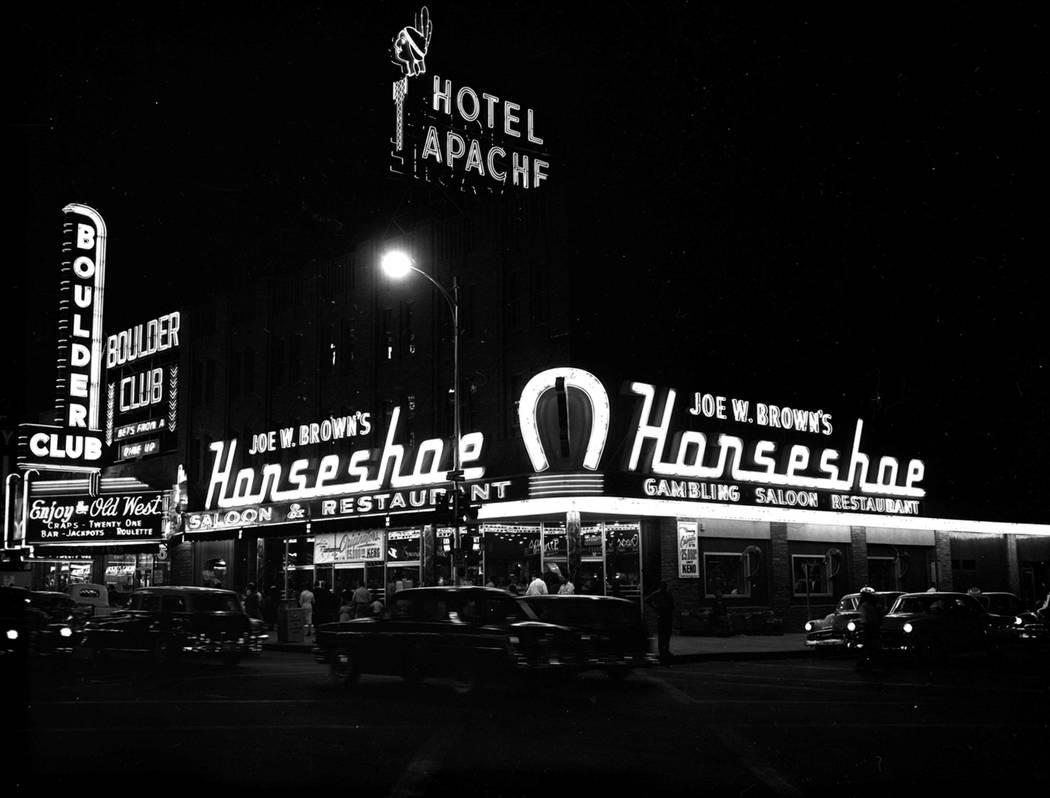 The Horseshoe hotel-casino pictured in 1955. (Las Vegas News Bureau)