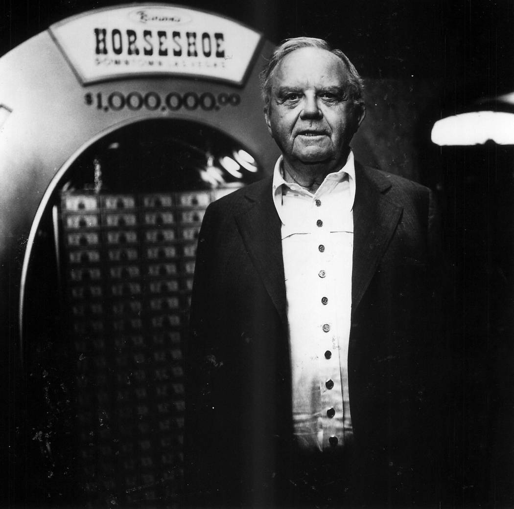 Benny Binion stands in front of the famed million-dollar horseshoe in 1982. (File Photo)