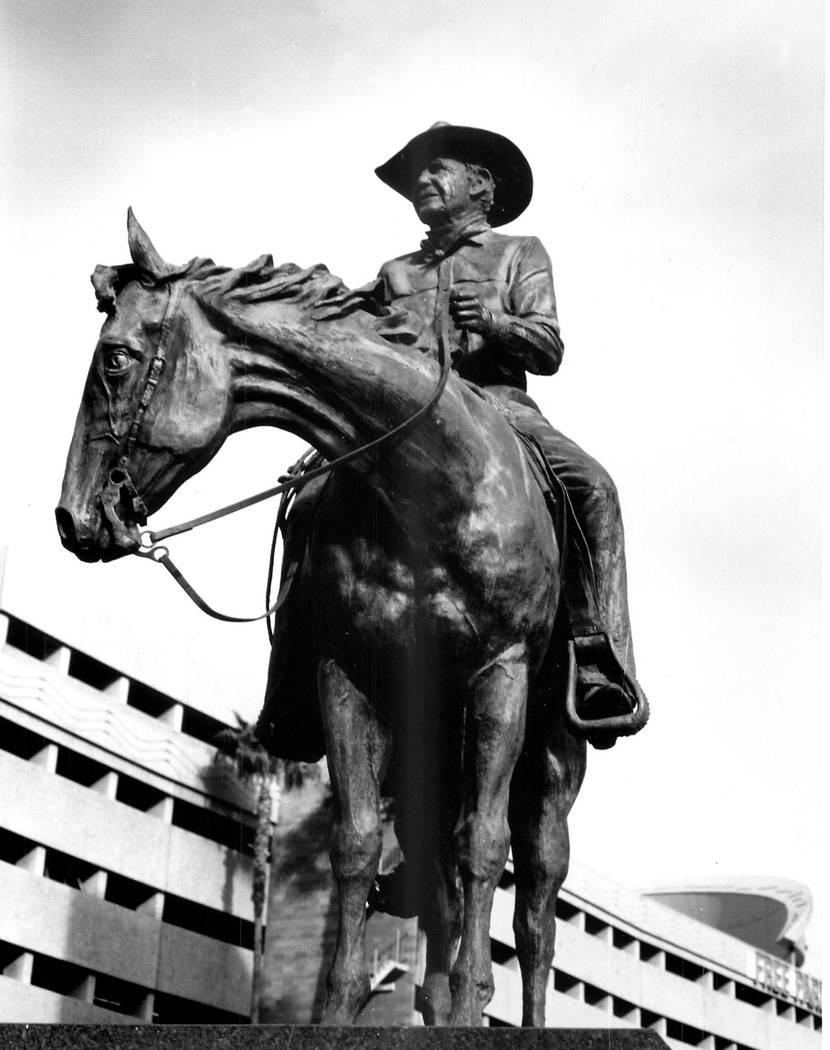 Undated photo of the Benny Binion sculpture in Las Vegas. (File Photo)