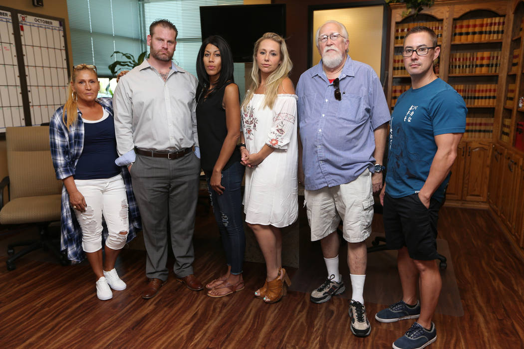 Lisa Lowery, from left, Don James, Jamie Tullius, Lenora Southerland, Bradley Kubilis and Joshua Tominaga, at their attorney's office in Las Vegas, Friday, Sept. 7, 2018. The group was terminated ...