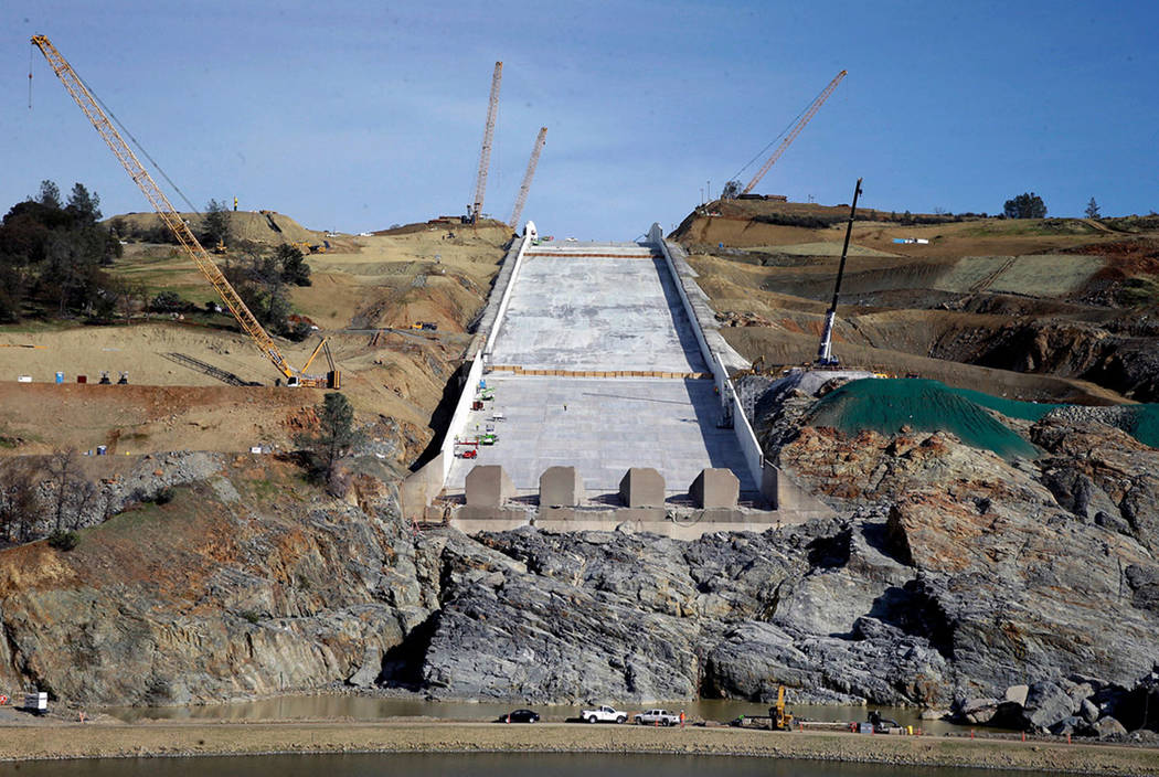Work continues on the Oroville Dam spillway in Oroville, Calif., in November 2017. (AP Photo/Rich Pedroncelli, File)