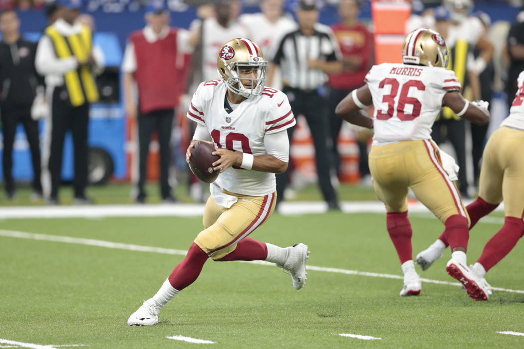 San Francisco 49ers quarterback Jimmy Garoppolo (10) in the first half of an NFL preseason football game against the Indianapolis Colts in Indianapolis, Saturday, Aug. 25, 2018. (AP Photo/AJ Mast)