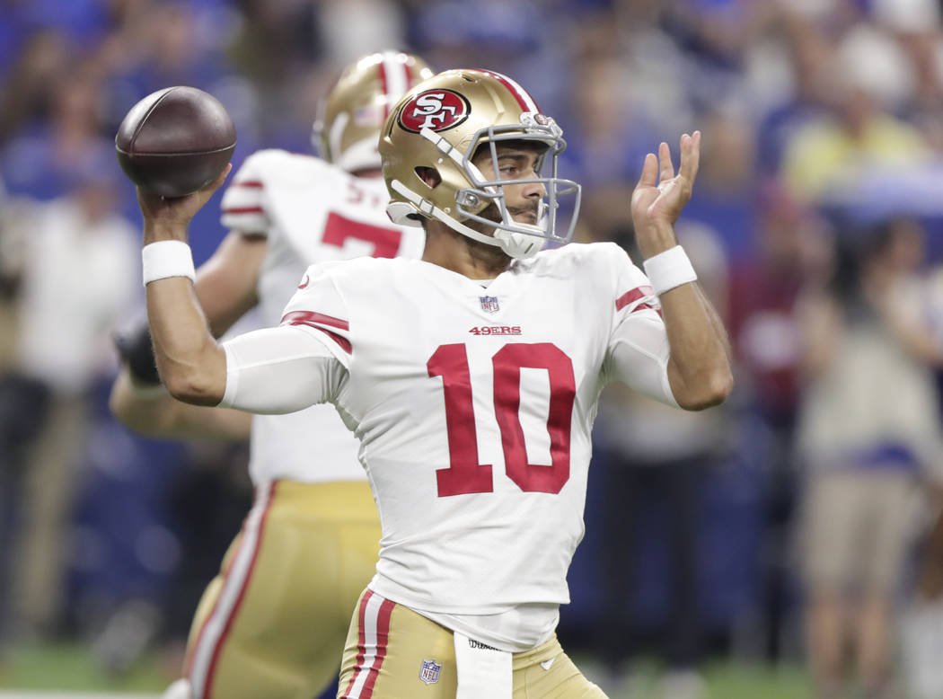 San Francisco 49ers quarterback Jimmy Garoppolo (10) throws against the Indianapolis Colts during the first half of an NFL preseason football game in Indianapolis, Saturday, Aug. 25, 2018. (AP Pho ...