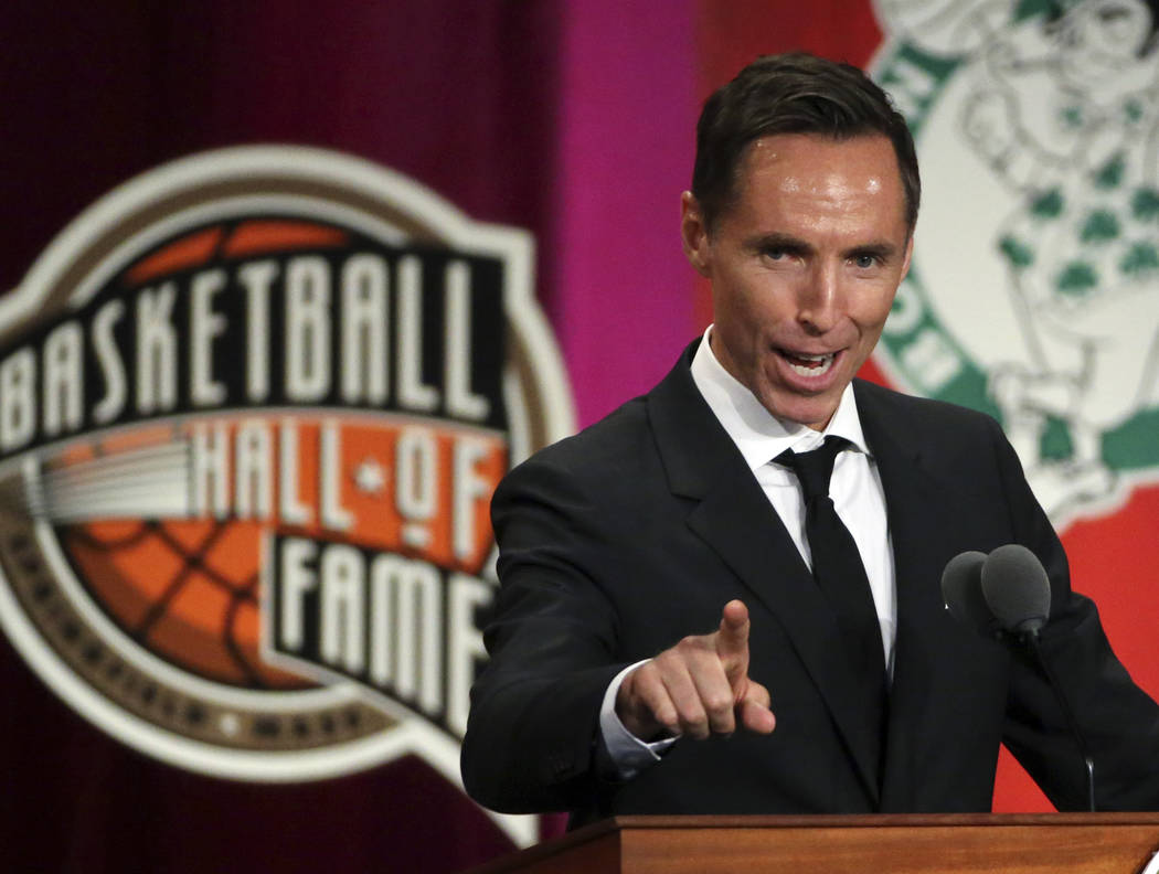 Steve Nash speaks during induction ceremonies into the Basketball Hall of Fame, Friday, Sept. 7, 2018, in Springfield, Mass. (AP Photo/Elise Amendola)