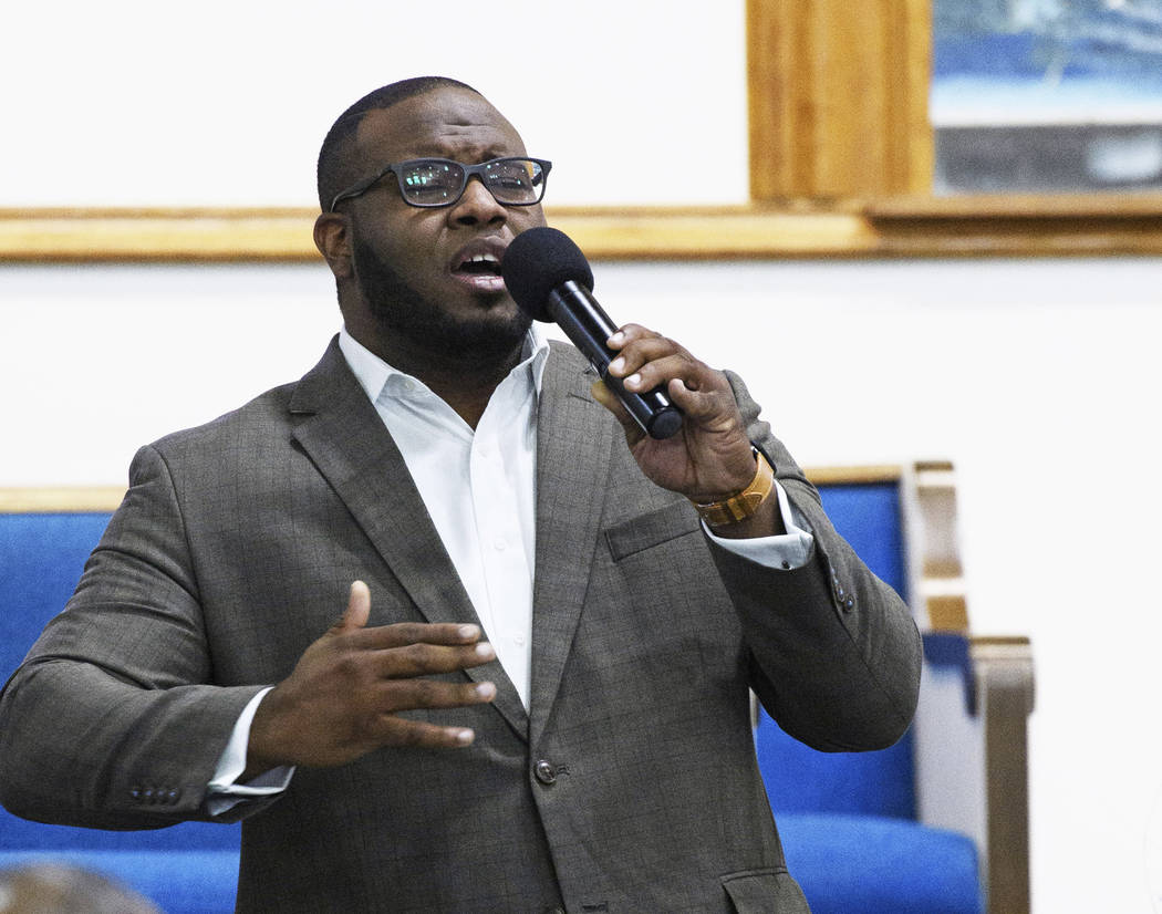 This Sept. 21, 2017, photo provided by Harding University in Search, Ark., shows Botham Jean leading worship at a university presidential reception in Dallas. Authorities said Friday, Sept. 7, 201 ...