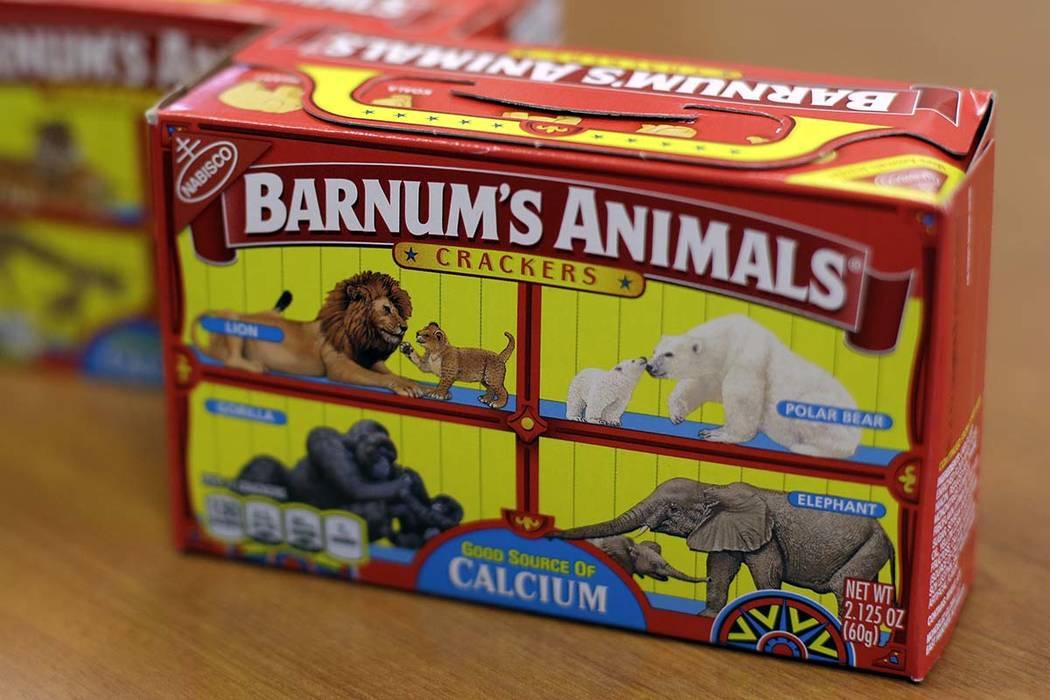 This Monday, Aug. 20, 2018, photo shows boxes of Nabisco's Barnum's Animals crackers in Chicago. (AP Photo/Kiichiro Sato)