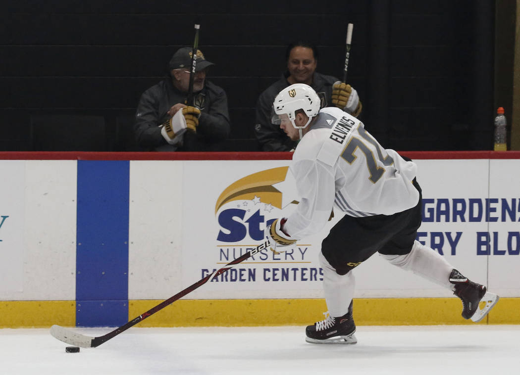 Golden Knights forward Lucas Elvenes skates with the puck during Knights rookie camp practice at City National Arena in Las Vegas on Friday, Sept. 7, 2018, in Las Vegas. (Bizuayehu Tesfaye/Las Veg ...