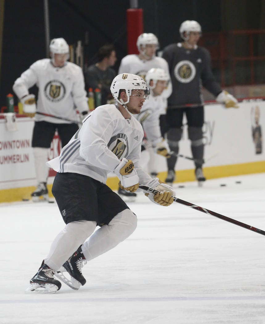 Golden Knights forward Lucas Elvenes skates during Knights rookie camp practice at City National Arena in Las Vegas on Friday, Sept. 7, 2018, in Las Vegas. (Bizuayehu Tesfaye/Las Vegas Review-Jour ...