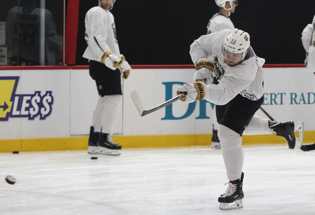 Golden Knights forward Lucas Elvenes shoots the puck during Knights rookie camp practice at City National Arena in Las Vegas on Friday, Sept. 7, 2018, in Las Vegas. (Bizuayehu Tesfaye/Las Vegas Re ...