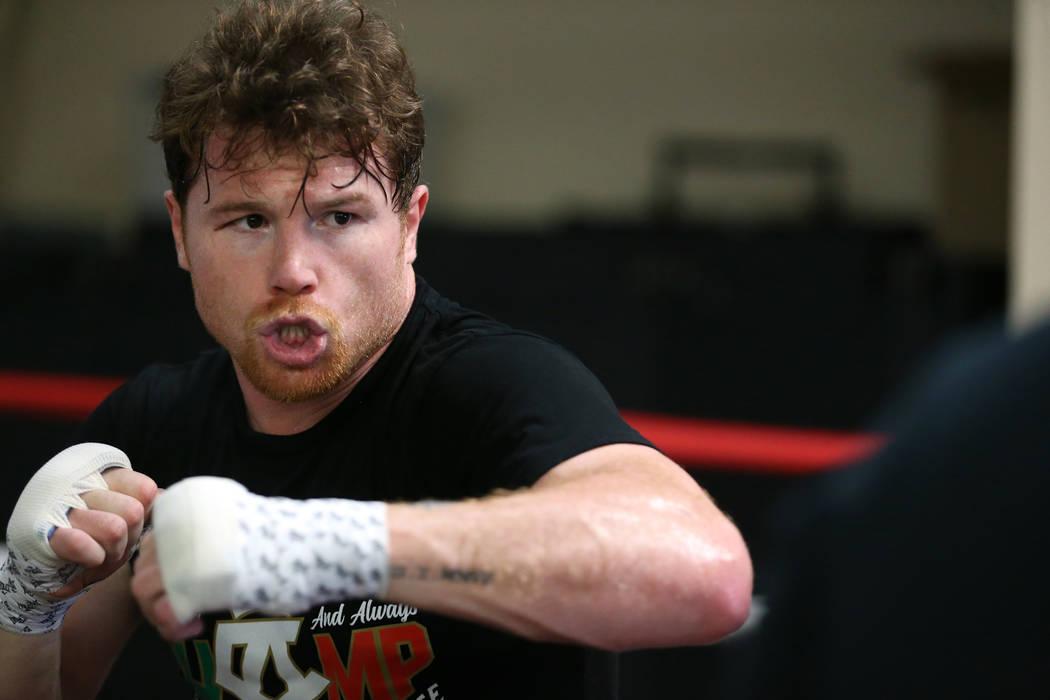 "Saul ""Canelo"" Alvarez trains at his gym in San Diego, Calif., Friday, July 27, 2018. Erik Verduzco Las Vegas Review-Journal @Erik_Verduzco"
